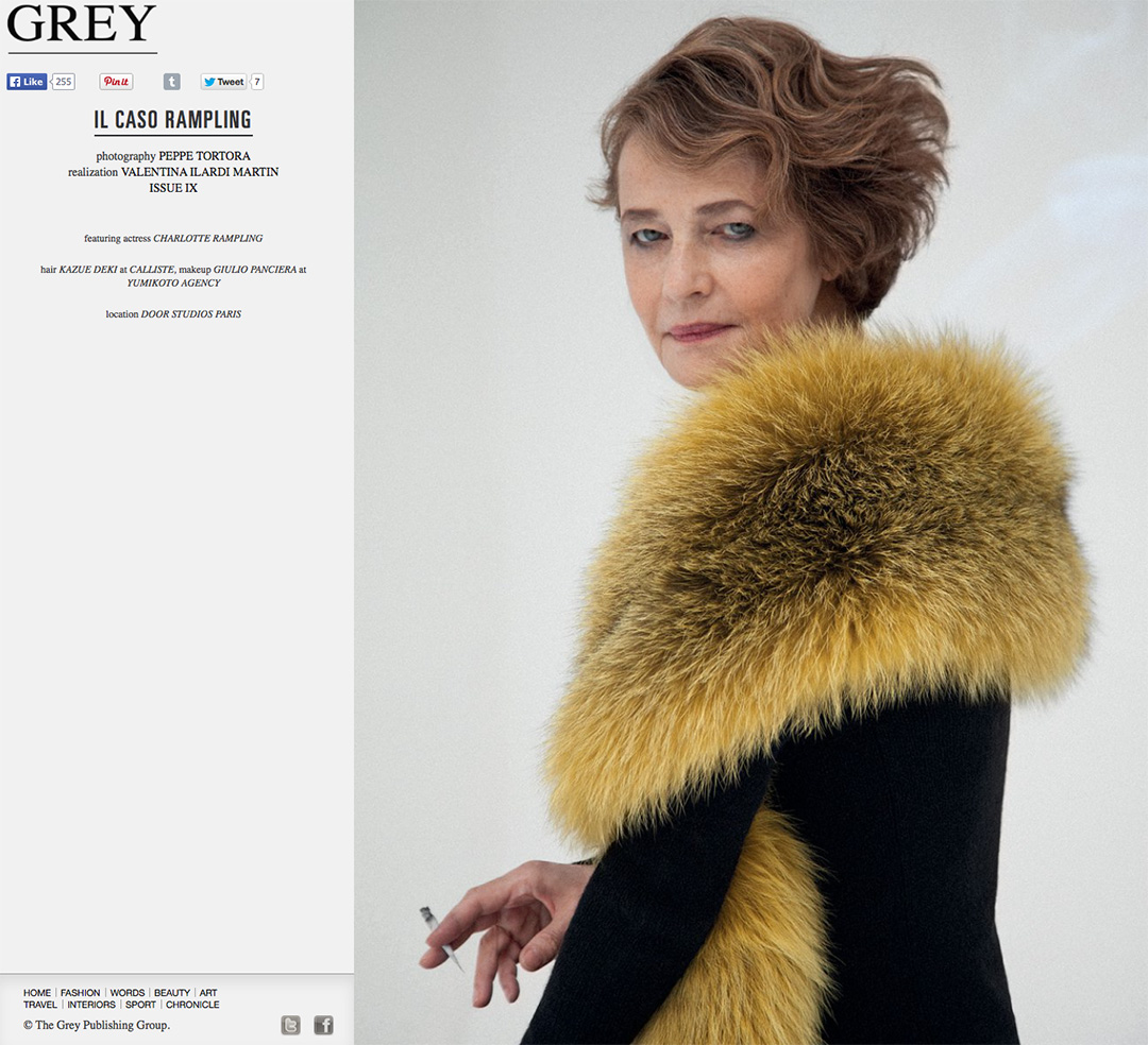 Charlotte Rampling through the eyes of PhotographerPEPPE TORTORA for ©Grey Magazine