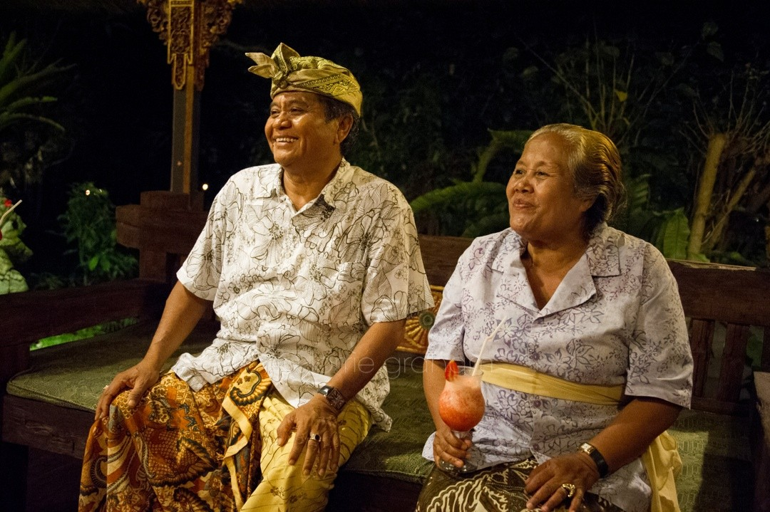 Mr and Mrs Pageh watch the full moon dancing at Ananda Cottages, Ubud.