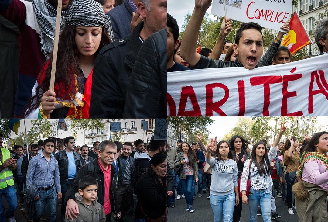 Kurds protest in Paris streets, Saturday 11 October 2014