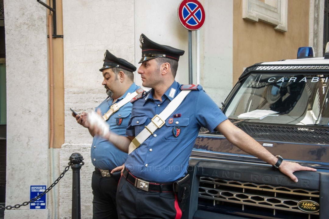 Rome Carabinerie alert and reassuring