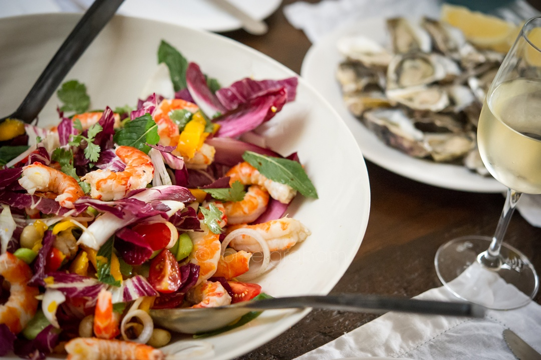 Neil Perry delicious recipe for a Spicy Prawn, Mango, and Macadamia nut Salad