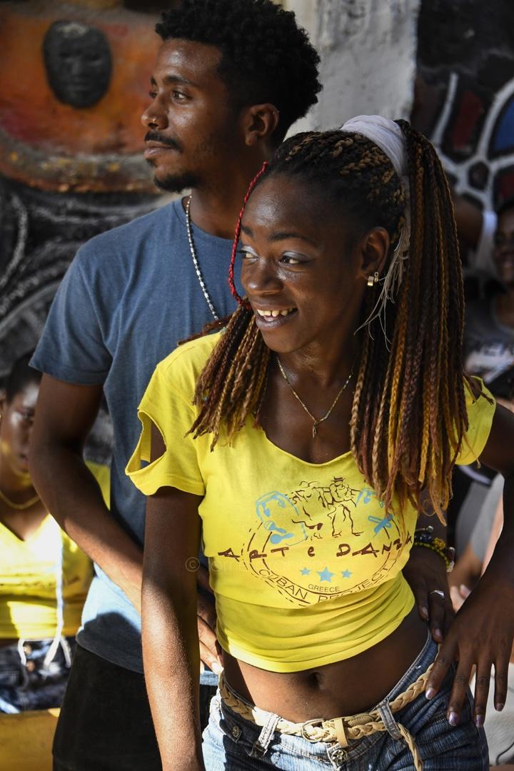 Rumba dancers and drummers in the Callejon de Hamel alley, Central Havana, Cuba. © Lorrie Graham
