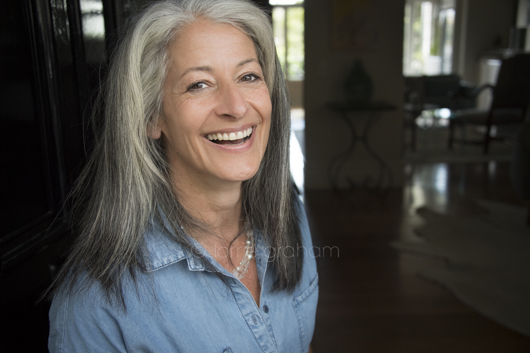 I'm talking to Leslie Stratton Stern a striking woman with a sensational head of grey hair about why and how she embraced her natural colour © Lorrie Graham