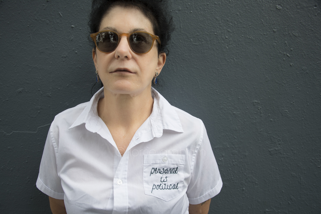 Julie Pierce Political is Personal - shirts with an embroided message.