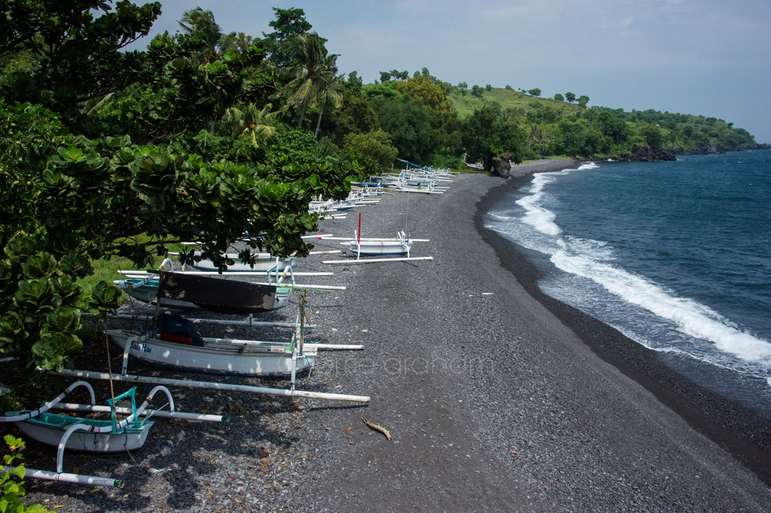 Black sand beaches in Ahmed, East Bali, in the shadow of Mt Agung