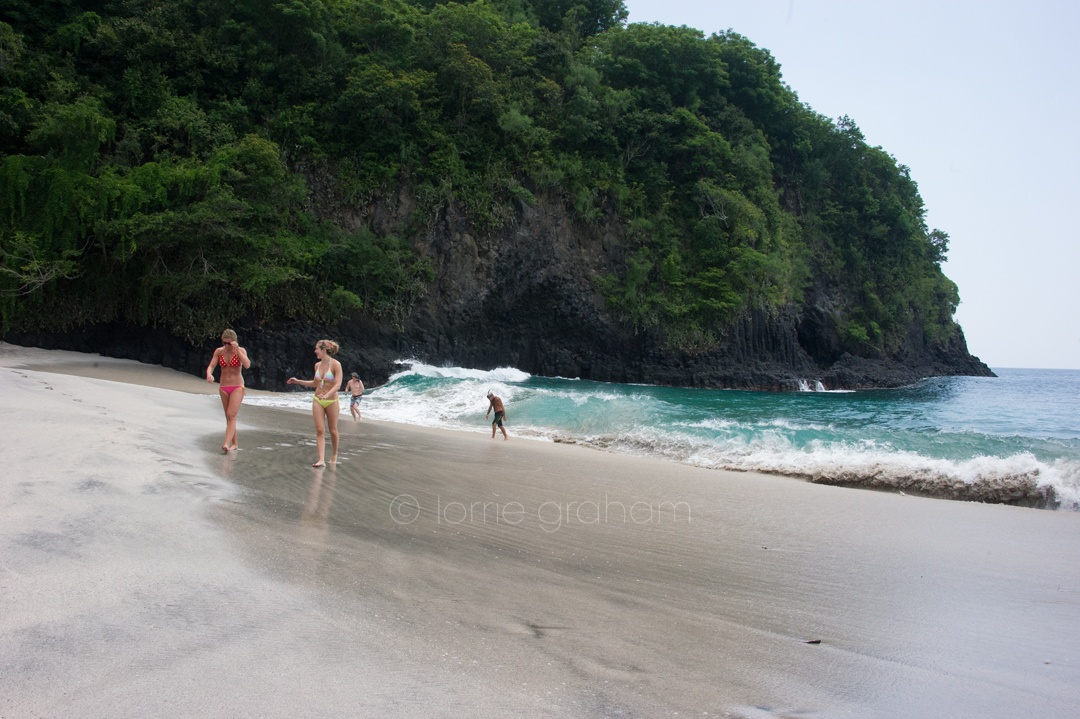 """""""White sand"""" or """"Virgin Beach"""" near Candi Dasa, East Bali, in the shadow of Mt Agung."""