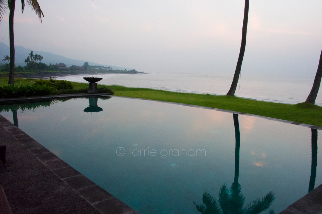 Sunrise over the pool at Villa Campuhan, East Bali