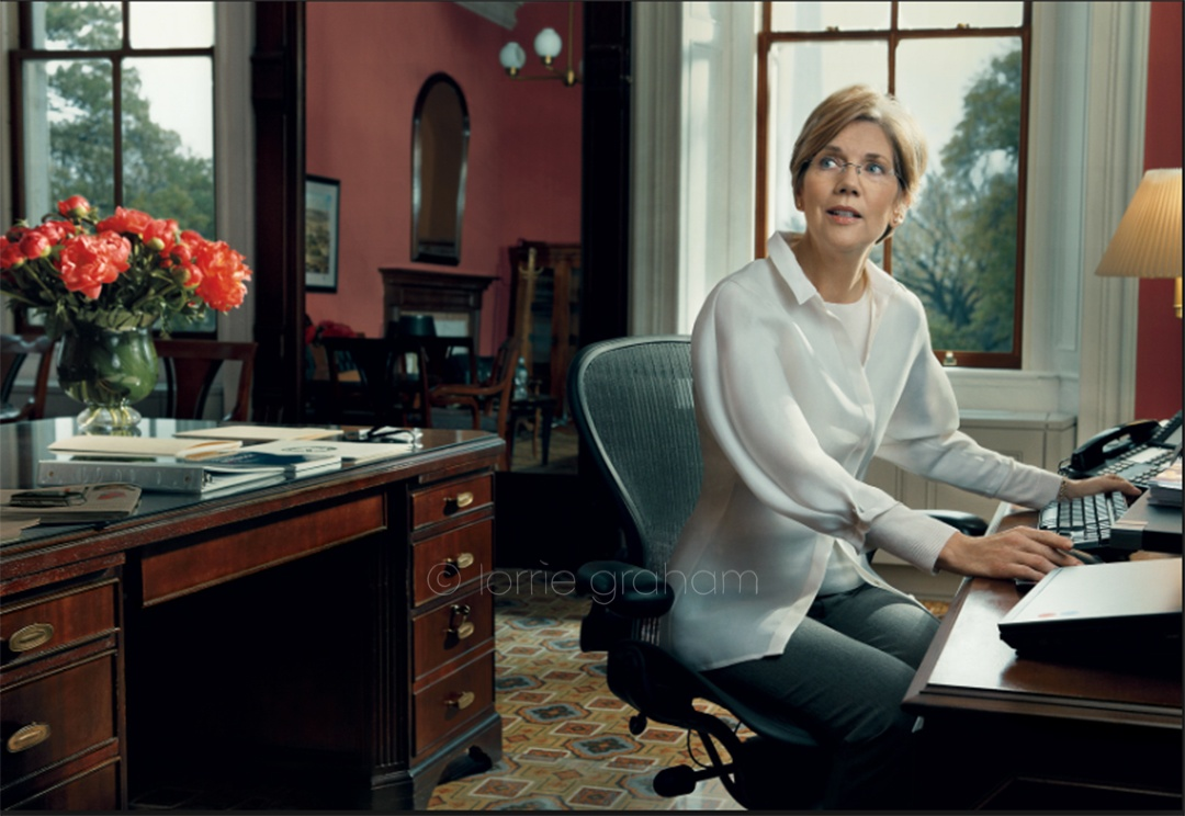 Elizabeth Warren USA Democrate Politician. Image from Vogue.com. Picture credit Norman Jean Roy. See link