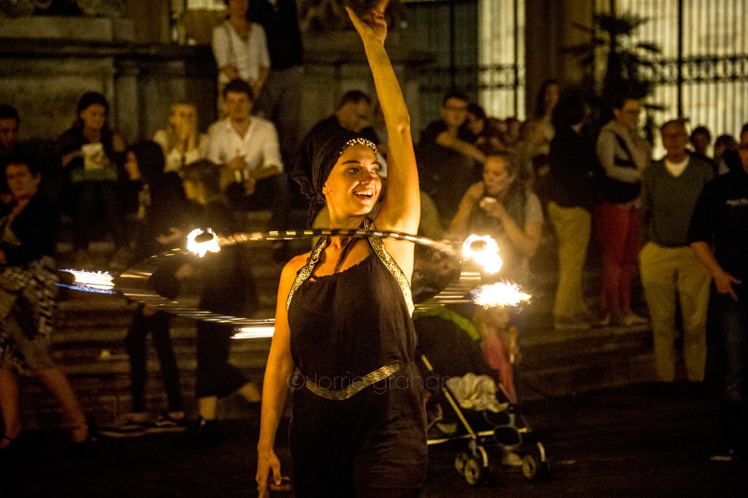 Fire dancer in Trastevere Square, Roma