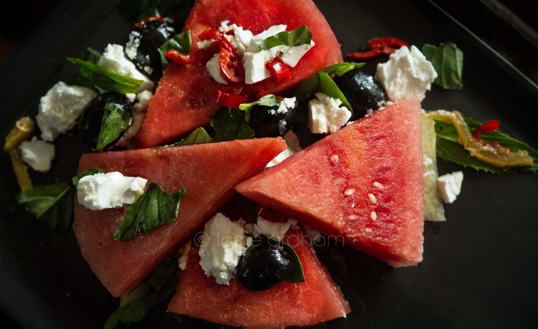 "A refreshing watermelon and feta summer salad from Ottolenghi's cookbook ""Nopi"" and great as a starter or as a light lunch."