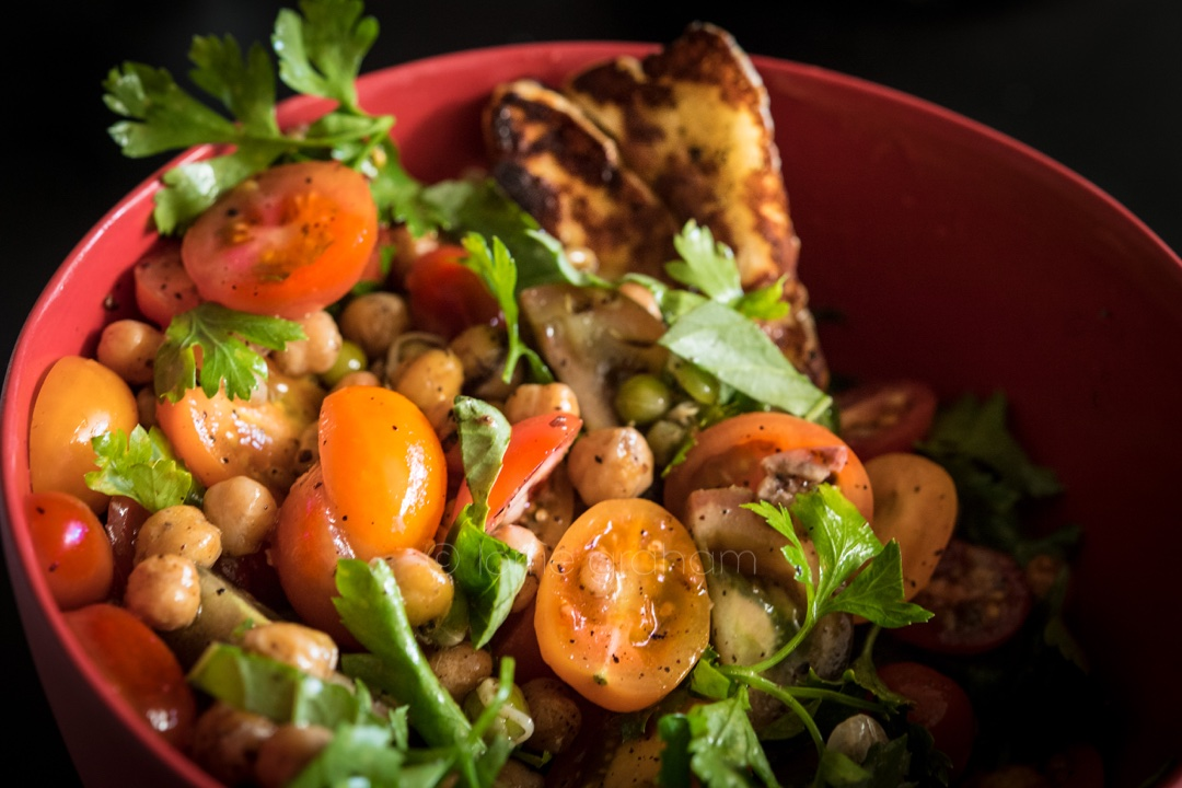 This Donna Hay recipe for crispy chickpea, sprout, tomato and haloumi salad is perfect for my major New Years resolution - health.