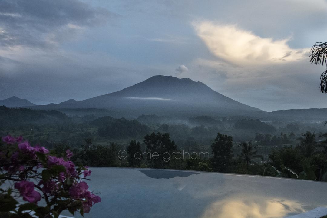 Villa Sidemen and Mt Agung, Sidemen, East Bali, January 2018