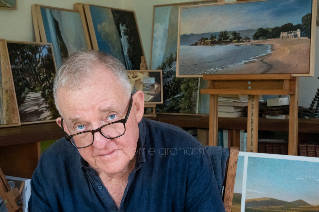 Tony Edwards and his latest exhibition, in his studio at his home Gunjulla Place Avalon, NSW, Australia