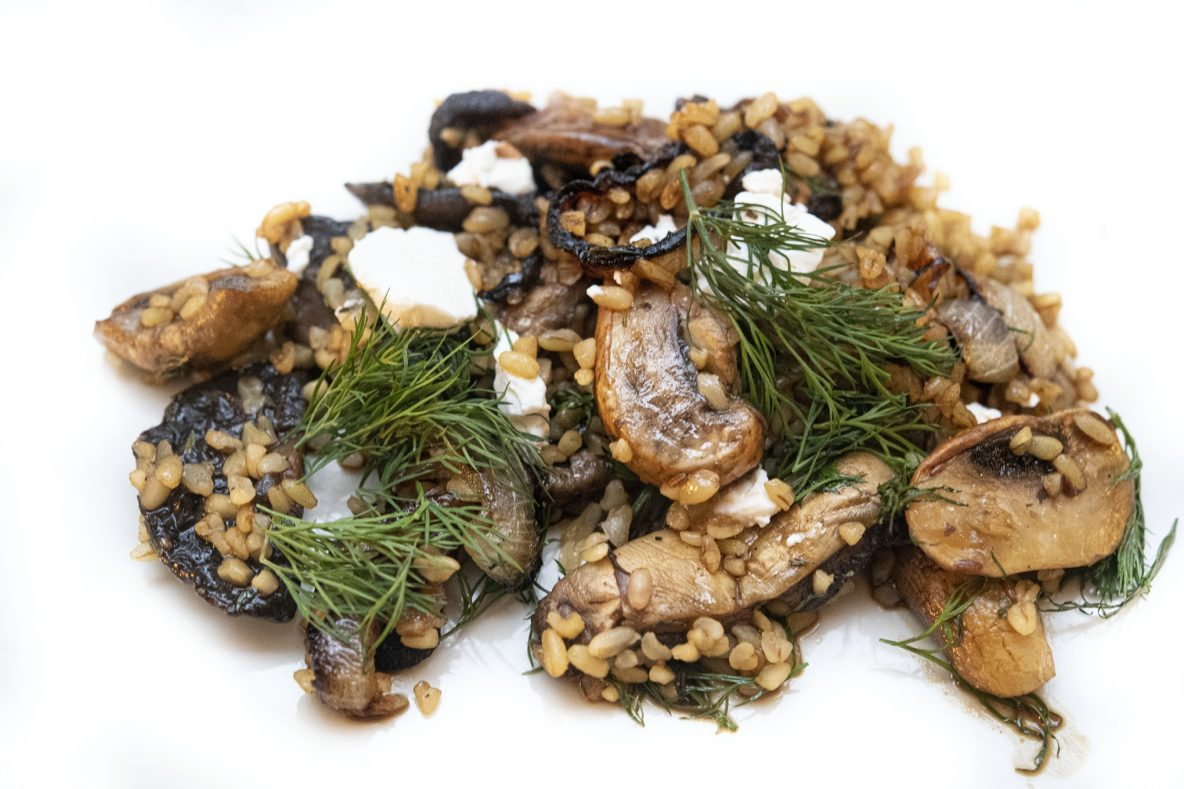 Bulgur with mushrooms and feta, recipe from the book Simple by Ottolenghi